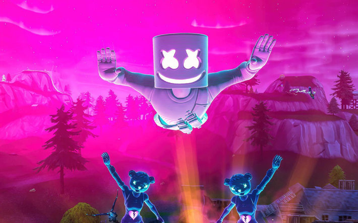 4k, Marshmello, Cuddle Team Leader, Fortnite Battle Royale, 2019 games, skydive, Fortnite, Marshmello Fortnite