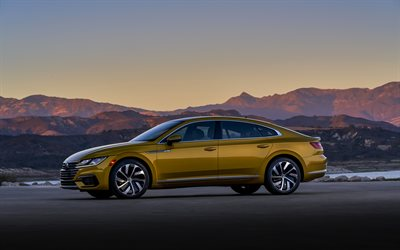 Volkswagen Arteon, 2019, side view, new golden Arteon, sedan, exterior, german cars, Volkswagen