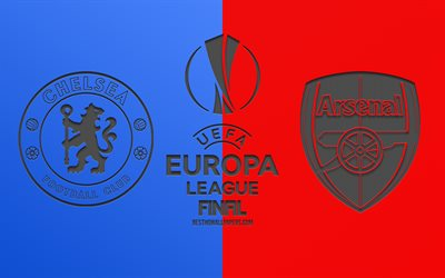 Chelsea FC vs Arsenal FC, 2019 de l'UEFA Europa League, la dernière, rouge sur fond bleu, de logos, de carbone, de la texture, de la promo, match de football, art créatif, Chelsea vs Arsenal football