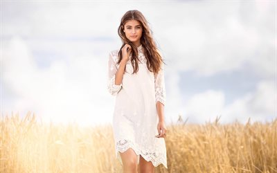 4k, Taylor Hill, 2019, white dress, beauty, american celebrity, Taylor Marie Hill, Victorias Secret Angel, Taylor Hill photoshoot, american models