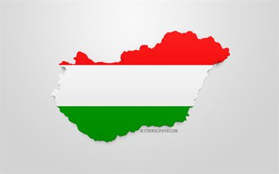 3d flag of Hungary, map silhouette of Hungary, 3d art, Hungarian flag, Europe, Hungary, geography, Hungary 3d silhouette