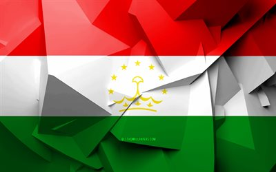 4k, Flag of Tajikistan, geometric art, Asian countries, Tajikistan flag, creative, Tajikistan, Asia, Tajikistan 3D flag, national symbols