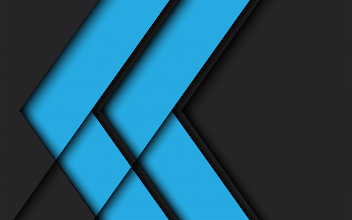 Blue black abstract background, geometric background, material design, blue lines background