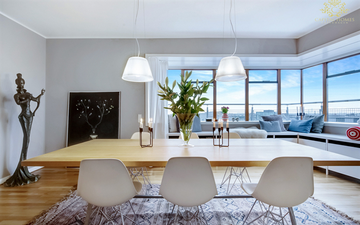 dining room, modern interior, stylish interior design, large wooden table, natural wood table top, light wood in the interior