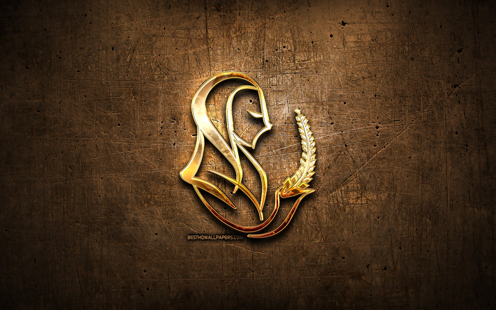 Download wallpapers Virgo golden sign, metal background