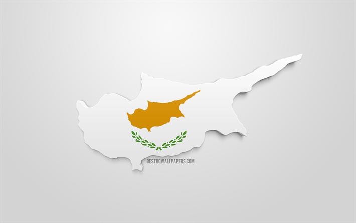 Lataa Kuva 3d Kyproksen Lippu Kartta Siluetti Kypros 3d Art