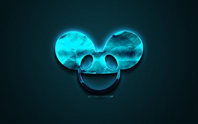 Deadmau5 logo, blue creative logo, Canadian DJ, Deadmau5 emblem, blue carbon fiber texture, creative art, Deadmau5