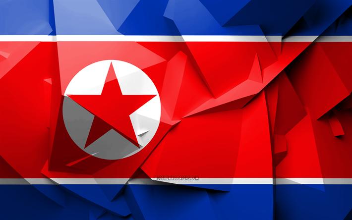 Download Wallpapers 4k Flag Of North Korea Geometric Art Asian