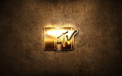 MTV golden logo, artwork, brown metal background, creative, MTV logo, brands, MTV