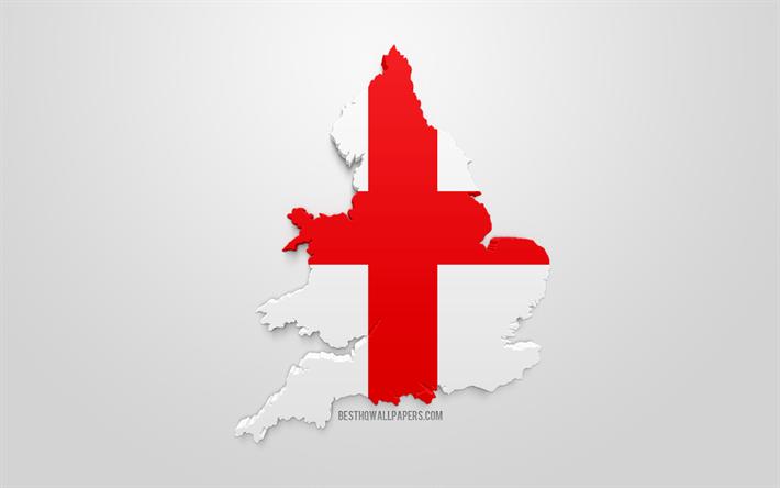 Lataa Kuva 3d Englannin Lippu Kartta Siluetti Englanti 3d Art