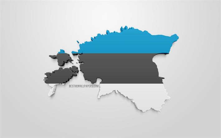 Lataa Kuva 3d Viron Lipun Alla Kartta Siluetti Viro 3d Art