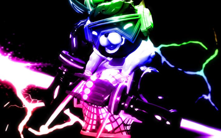 Download Wallpapers Dj Bop 4k Neon Art Fortnite Characters 2019 Games Fortnite Battle Royale Dj Bop Fortnite For Desktop Free Pictures For Desktop Free