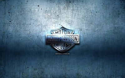 Harley-Davidson metal logo, blue metal background, artwork, Harley-Davidson, brands, Harley-Davidson 3D logo, creative, Harley-Davidson logo