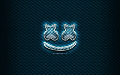 DJ Marshmello glass logo, blue background, artwork, Marshmello, music brands, Marshmello rhombic logo, DJ Marshmello, creative, Marshmello logo, superstars
