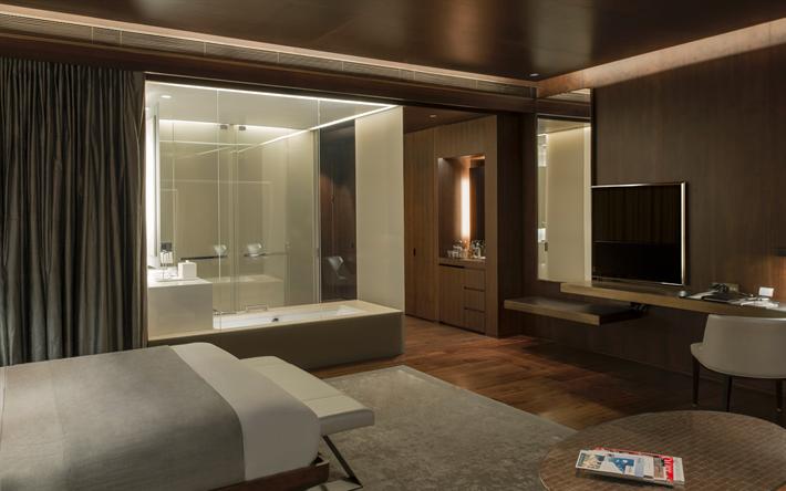 Download wallpapers stylish interior design, bedroom, dark