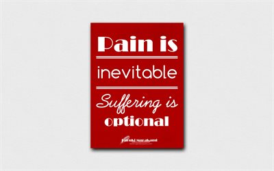 4k, Pain is inevitable Suffering is optional, Haruki Murakami, red paper, popular quotes, Haruki Murakami quotes, inspiration, quotes about pain