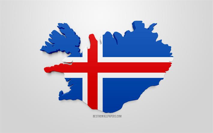 Lataa Kuva 3d Lippu Islanti Kartta Siluetti Islanti 3d Art