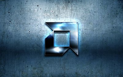 AMD metal logo, blue metal background, artwork, AMD, brands, AMD 3D logo, creative, AMD logo