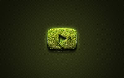 YouTube logo, green creative logo, floral art logo, YouTube emblem, green carbon fiber texture, YouTube, creative art