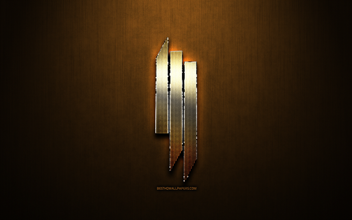 Skrillex glitter logo, music brands, creative, bronze metal background, Skrillex logo, brands, Skrillex