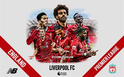 Liverpool FC, English football club, football players, leaders, Liverpool FC logo, emblem, Premier League, Liverpool, England, creative art, football, Mohammed Salah, Sadio Mane, Roberto Firmino