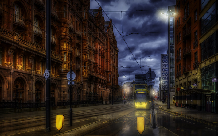 Manchester, English city, evening, sunset, cityscape, England, Greater Manchester County