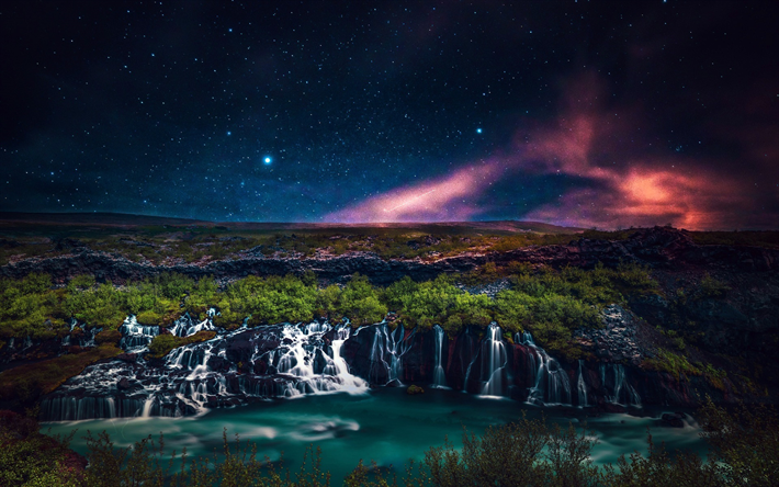 Iceland, waterfalls, beautiful nature, nightscapes, northern lights, Europe