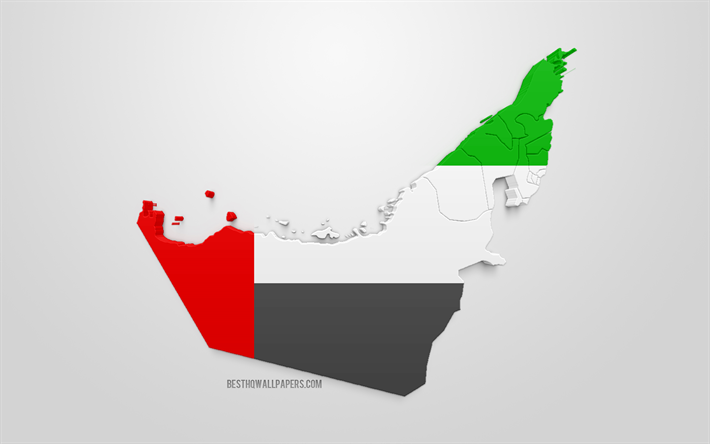3d flag of United Arab Emirates, map silhouette of UAE, 3d art, UAE flag, Europe, United Arab Emirates, geography, UAE 3d silhouette