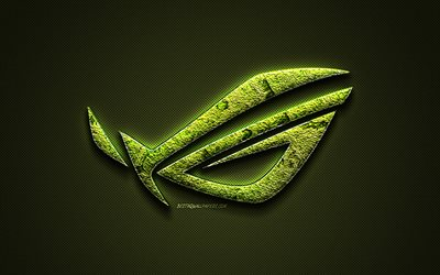 ROG logo, green creative logo, Republic of Gamers, floral art logo, ROG emblem, green carbon fiber texture, ROG, creative art, ASUS
