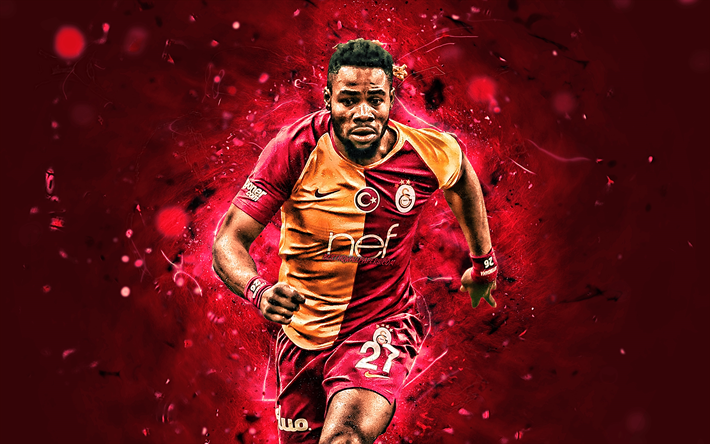 Christian Luyindama, Galatasaray FC, kongolesiska fotbollsspelare, fotboll, försvarare, Turkiska Super Lig!, fan art, Turkiet, Christian Luyindama Nekadio, footaball, neon lights