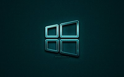 Windows 10 linear logo, creative, OS, blue metal background, Windows 10 logo, brands, Windows 10