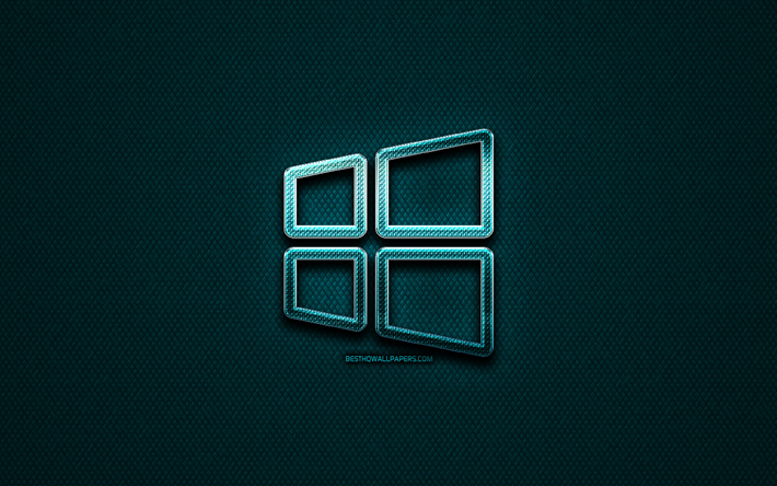 Windows 10 doğrusal logo, yaratıcı, OS, mavi metal arka plan, Windows 10 logo, marka, Windows 10