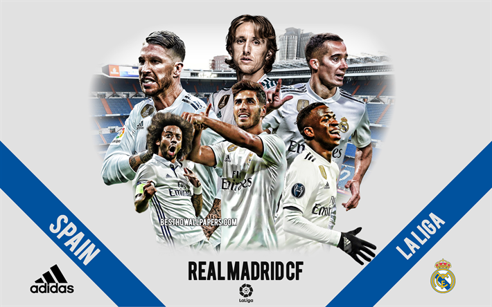 Real Madrid CF, Spanish football club, football players, leaders, Real Madrid logo, emblem, La Liga, Madrid, Spain, creative art, football, Sergio Ramos, Marcelo Vieira, Marco Asensio, Real Madrid