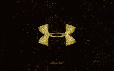 Logotipo brilhante da Under Armour, fundo preto, logotipo da Under Armour, arte com glitter amarelo, Under Armour, arte criativa, logotipo glitter amarelo da Under Armour