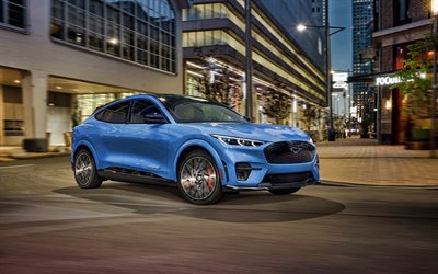 2021, Ford Mustang Mach-E GT, 4k, front view, exterior, electric crossover, new blue Mach-E GT, electric cars, american cars, Ford