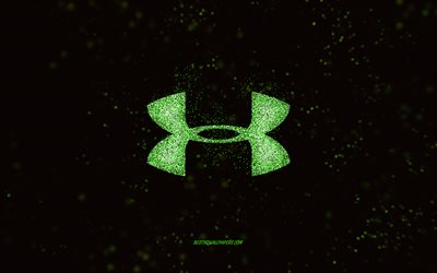 Logotipo brilhante da Under Armour, fundo preto, logotipo da Under Armour, arte com brilho verde, Under Armour, arte criativa, logotipo glitter verde da Under Armour
