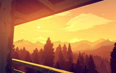 firewatch tower, sunset, abstract landscapes, creative, artwork, forest, abstract mountains
