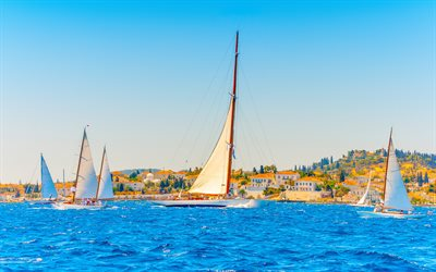 Lefkas, sailboats, yachts, Greek island, Lefkada, Ionian Sea, white sailboats, Greece