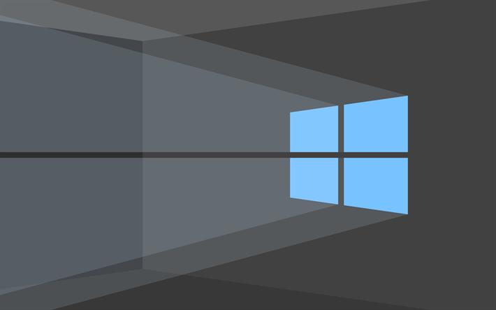 تحميل خلفيات 4k ويندوز 10 خلفية رمادية الشعار الأزرق