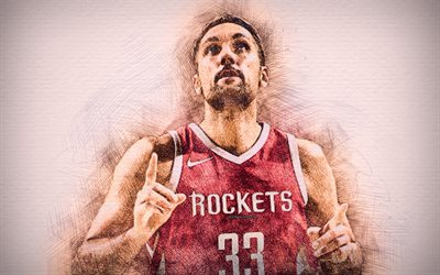 Ryan Anderson, 4k, stars du basket-ball, les illustrations, les Rockets de Houston, NBA, basket-ball, dessin de Ryan Anderson