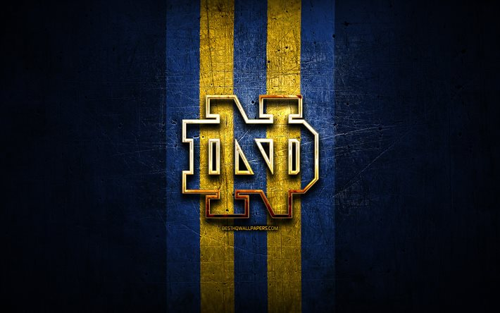 Download Wallpapers Notre Dame Fighting Irish Golden Logo Ncaa Blue Metal Background American Football Club Notre Dame Fighting Irish Logo American Football Usa For Desktop Free Pictures For Desktop Free