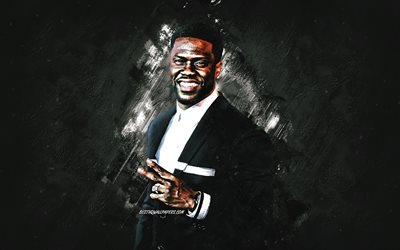 Kevin Hart, american actor, portrait, gray stone background, creative art, Kevin Darnell Hart