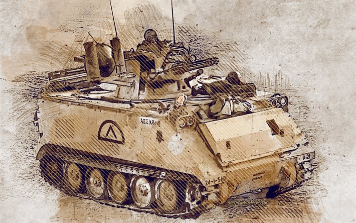 M163, Vulcan Air Defense System, self-propelled anti-aircraft gun, grunge art, creative art, painted M163, drawing, M163 grunge, digital art, United States Army, M163 VADS