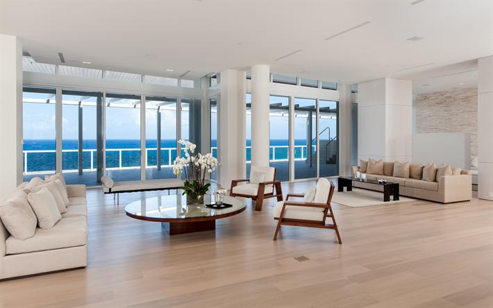 Scarica sfondi elegante, spazioso soggiorno, luminosa interior ...