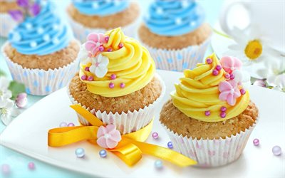 cupcakes with yellow cream, sweets, dessert, cakes, Birthday, cupcakes