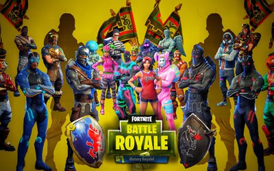Fortnite Battle Royale, caracteres elenco, 2018 jogos, cartaz, Fortnite