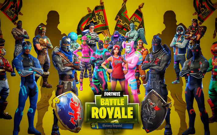 Fortnite Battle Royale, characters cast, 2018 games, poster, Fortnite