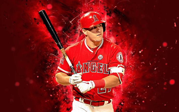 Download Wallpapers Mike Trout 4k Center Fielder Abstract