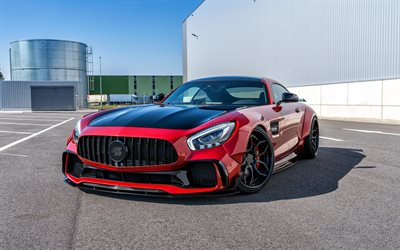 Mercedes-Benz GT S AMG, 2018, PD700GTR, Prior-Design, Widebody Aerodynamic-Kit package, red sports coupe, tuning GT S, black wheels, German sports cars, Mercedes