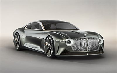 Bentley EXP 100 Concept, 2019, 4k, exterior, luxury coupe, front view, luxury supercar, British cars, Bentley